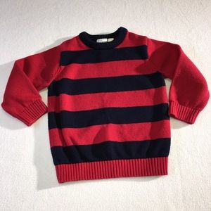 Boys 4T navy and red rugby stripe cotton sweater